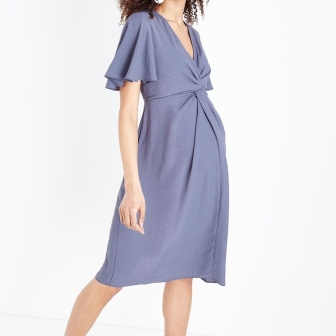 maternity-dark-grey-knot-front-midi-dress